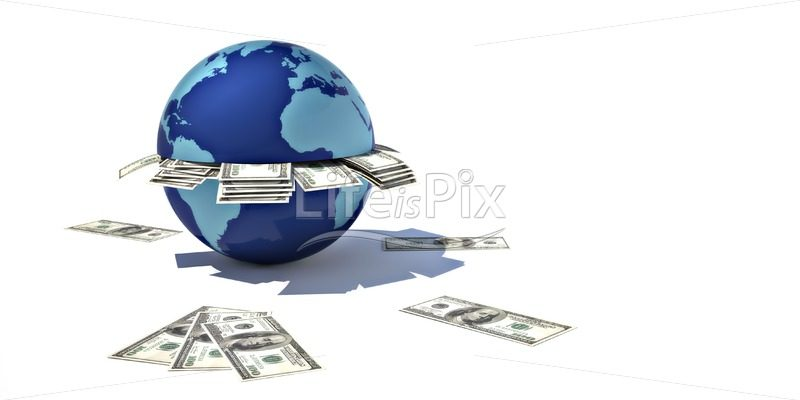 blue globe and 100 dollars bills - Royalty free stock photos, illustrations and 3d letters fonts