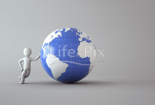 character next to blue globe - Royalty free stock photos, illustrations and 3d letters fonts