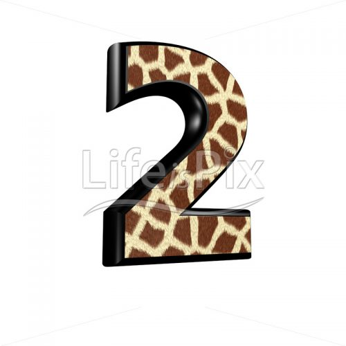 digit  with giraffe fur texture – 2 – Royalty free stock photos, illustrations and 3d letters fonts