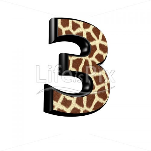 digit  with giraffe fur texture – 3 – Royalty free stock photos, illustrations and 3d letters fonts