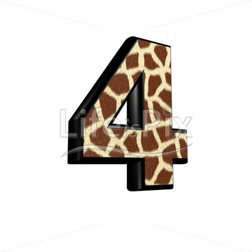 digit  with giraffe fur texture – 4 – Royalty free stock photos, illustrations and 3d letters fonts