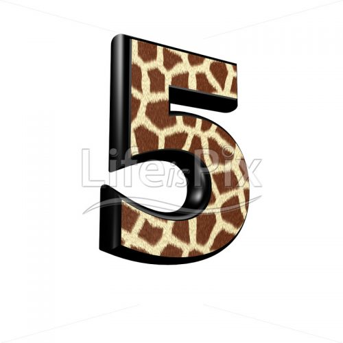 digit  with giraffe fur texture – 5 – Royalty free stock photos, illustrations and 3d letters fonts