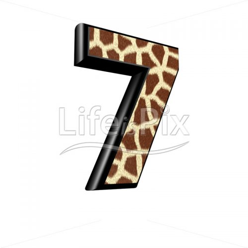 digit with giraffe fur texture – 7 – Royalty free stock photos, illustrations and 3d letters fonts