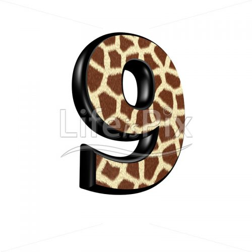 digit with giraffe fur texture – 9 – Royalty free stock photos, illustrations and 3d letters fonts