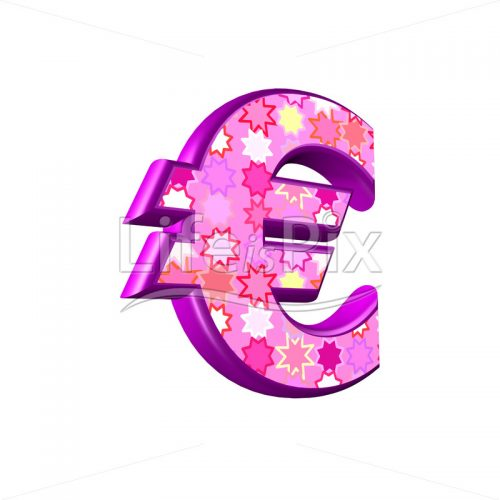 euro sign with pink stars texture – 3d illustration – Royalty free stock photos, illustrations and 3d letters fonts