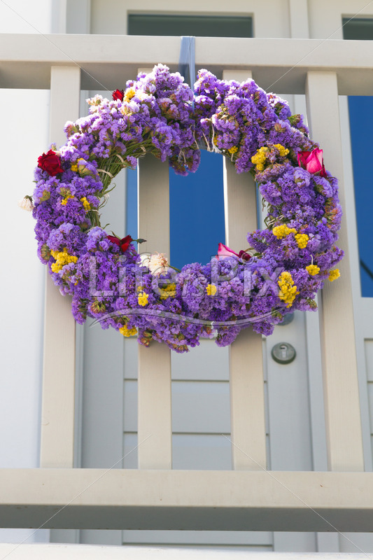 flower wreath on balcony in greece - Royalty free stock photos, illustrations and 3d letters fonts