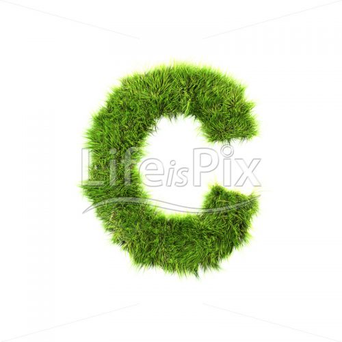 grass letter isolated on white background – C – Royalty free stock photos, illustrations and 3d letters fonts
