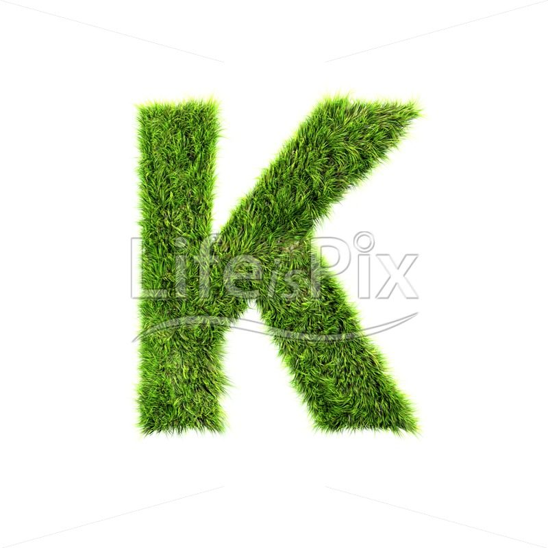 grass letter isolated on white background – K – Royalty free stock photos, illustrations and 3d letters fonts