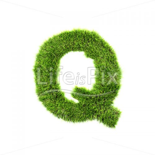 grass letter isolated on white background – Q – Royalty free stock photos, illustrations and 3d letters fonts