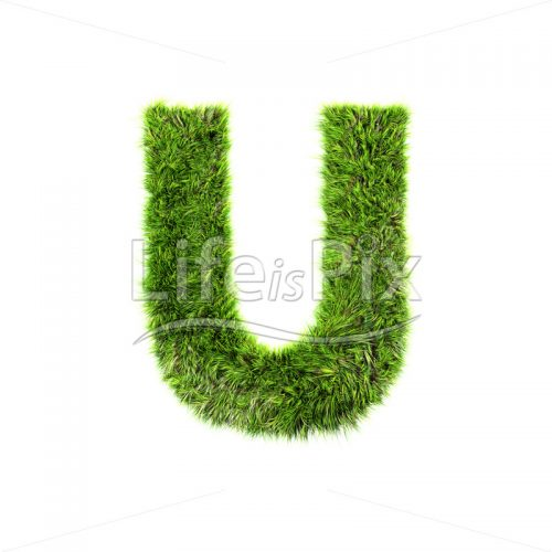grass letter isolated on white background – U – Royalty free stock photos, illustrations and 3d letters fonts