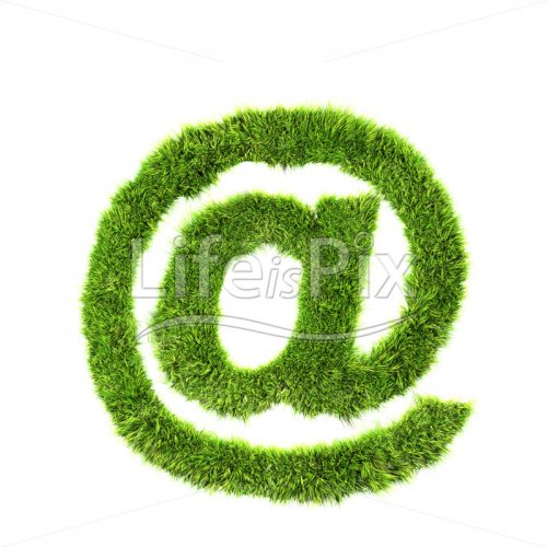 grass sign isolated on white background – arobas – Royalty free stock photos, illustrations and 3d letters fonts