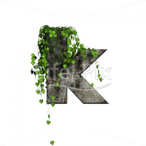 green ivy on 3d stone letter – k - Royalty free stock photos, illustrations and 3d letters fonts