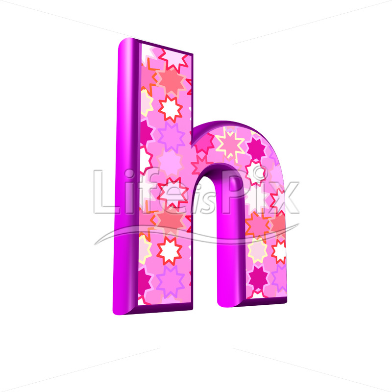 lower case Letter h with pink stars texture – 3d illustration – Royalty free stock photos, illustrations and 3d letters fonts