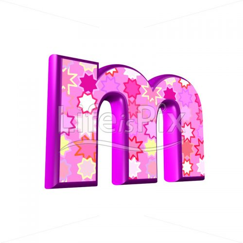 lower case Letter m with pink stars texture – 3d illustration – Royalty free stock photos, illustrations and 3d letters fonts