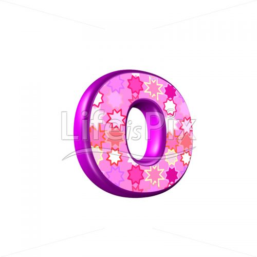 lower case Letter o with pink stars texture – 3d illustration – Royalty free stock photos, illustrations and 3d letters fonts