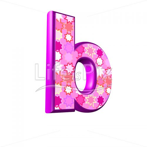 lower case letter b with pink stars texture – 3d illustration – Royalty free stock photos, illustrations and 3d letters fonts