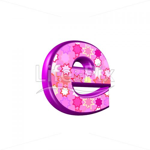 lower case letter e with pink stars texture – 3d illustration – Royalty free stock photos, illustrations and 3d letters fonts