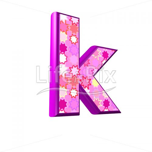 lower case letter k with pink stars texture – 3d illustration – Royalty free stock photos, illustrations and 3d letters fonts