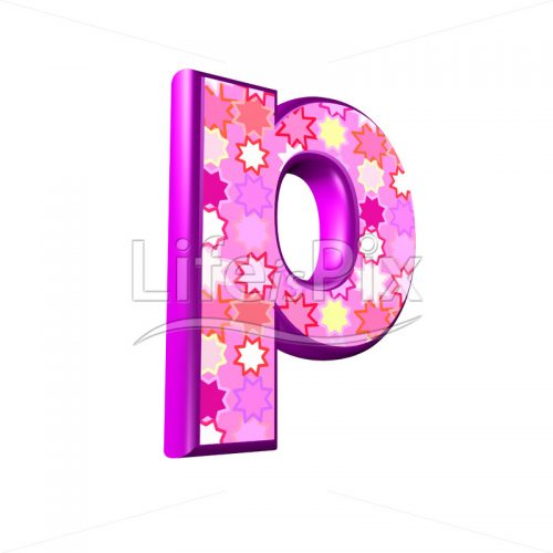 lower case letter p with pink stars texture – 3d illustration – Royalty free stock photos, illustrations and 3d letters fonts