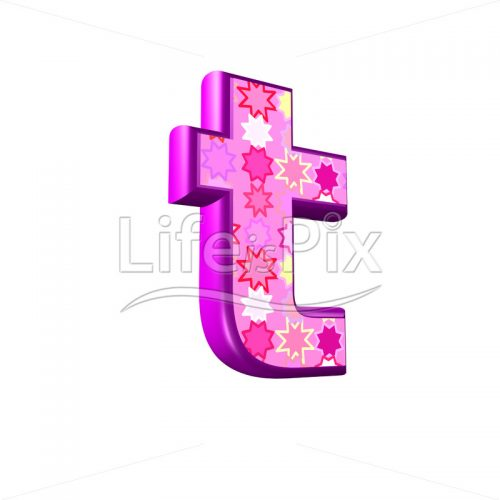lower case letter t with pink stars texture – 3d illustration – Royalty free stock photos, illustrations and 3d letters fonts