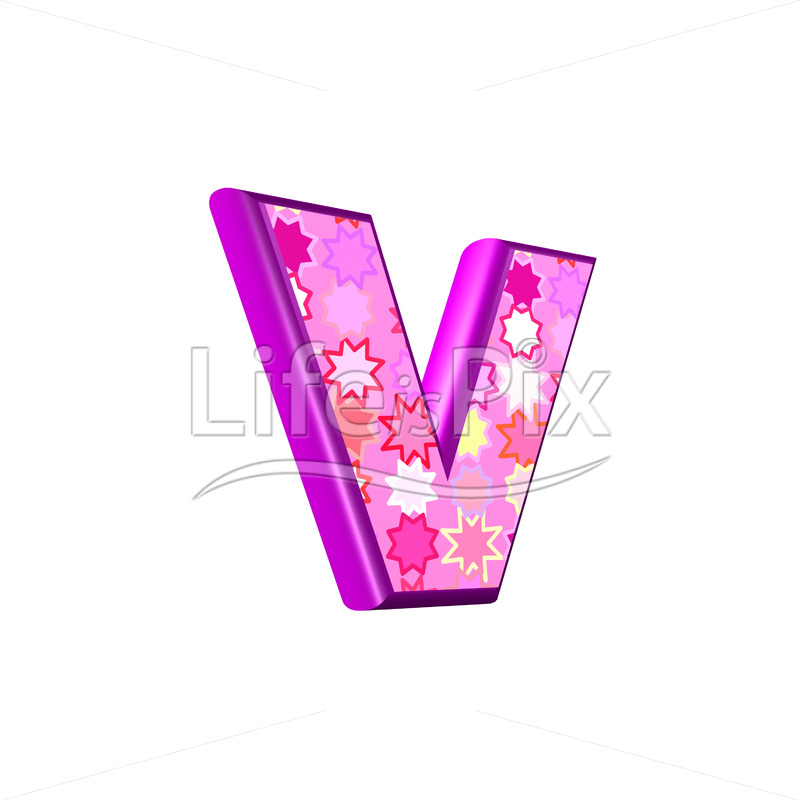 lower case letter v with pink stars texture – 3d illustration – Royalty free stock photos, illustrations and 3d letters fonts