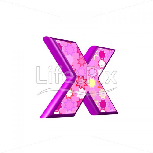 lower case letter x with pink stars texture – 3d illustration – Royalty free stock photos, illustrations and 3d letters fonts