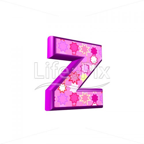 lower case letter z with pink stars texture – 3d illustration – Royalty free stock photos, illustrations and 3d letters fonts
