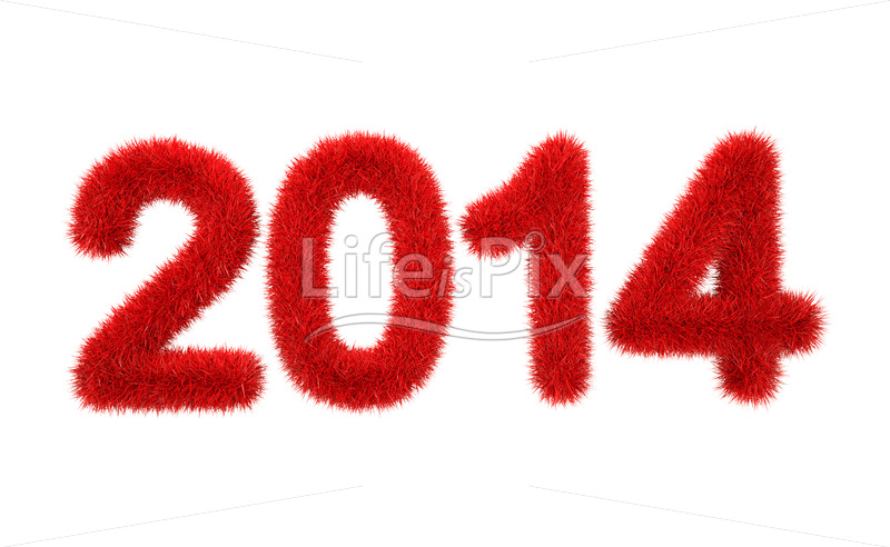 new year 2014 3d furry red logo - Royalty free stock photos, illustrations and 3d letters fonts