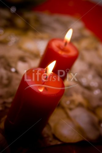 red candles on christmas table - Xmas concept