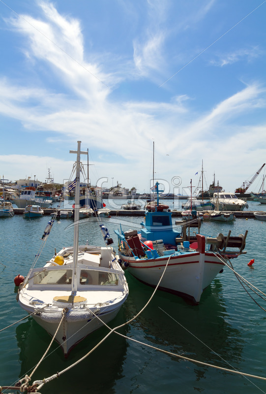 typical Port of Parikia on Paros island , Greece - Royalty free stock photos, illustrations and 3d letters fonts