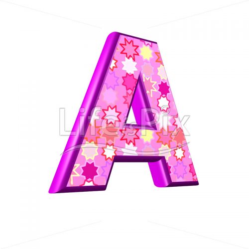 upper case letter A with pink stars texture – 3d illustration – Royalty free stock photos, illustrations and 3d letters fonts