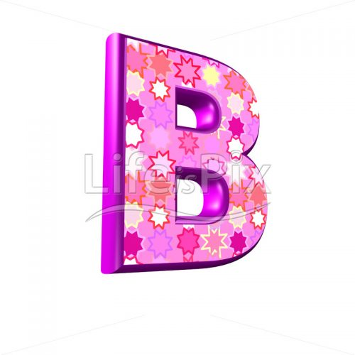 upper case letter B with pink stars texture – 3d illustration – Royalty free stock photos, illustrations and 3d letters fonts