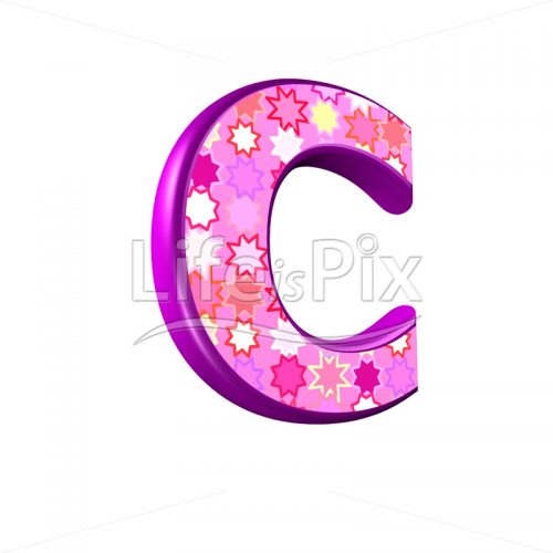 upper case letter C with pink stars texture – 3d illustration – Royalty free stock photos, illustrations and 3d letters fonts