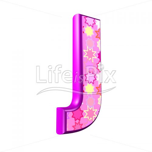 upper case letter J with pink stars texture – 3d illustration – Royalty free stock photos, illustrations and 3d letters fonts