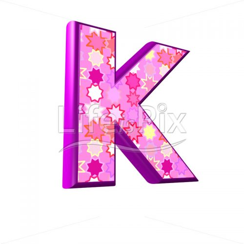 upper case letter K with pink stars texture – 3d illustration – Royalty free stock photos, illustrations and 3d letters fonts