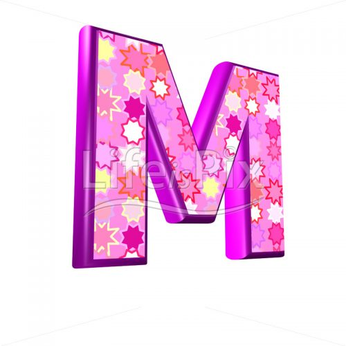 upper case letter M with pink stars texture – 3d illustration – Royalty free stock photos, illustrations and 3d letters fonts