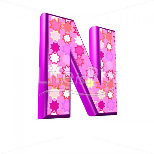 upper case letter N with pink stars texture – 3d illustration – Royalty free stock photos, illustrations and 3d letters fonts