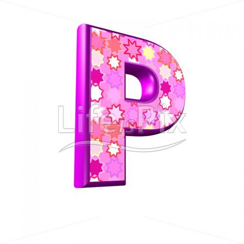 upper case letter P with pink stars texture – 3d illustration – Royalty free stock photos, illustrations and 3d letters fonts