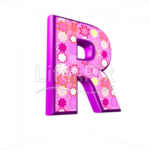upper case letter R with pink stars texture – 3d illustration – Royalty free stock photos, illustrations and 3d letters fonts