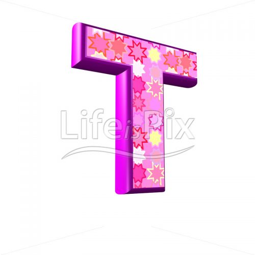upper case letter T with pink stars texture – 3d illustration – Royalty free stock photos, illustrations and 3d letters fonts