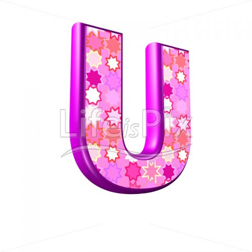 upper case letter U with pink stars texture – 3d illustration – Royalty free stock photos, illustrations and 3d letters fonts