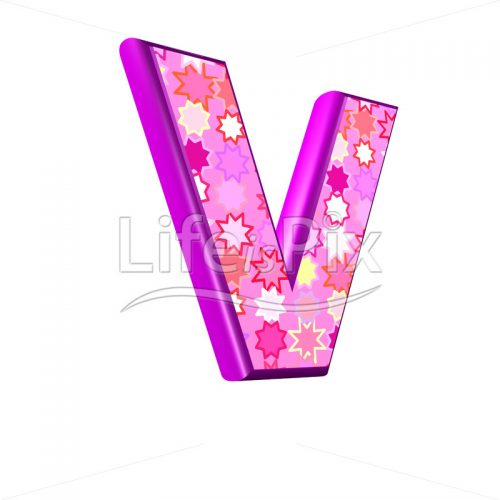 upper case letter V with pink stars texture – 3d illustration – Royalty free stock photos, illustrations and 3d letters fonts