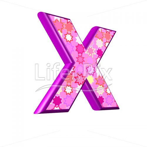 upper case letter X with pink stars texture – 3d illustration – Royalty free stock photos, illustrations and 3d letters fonts