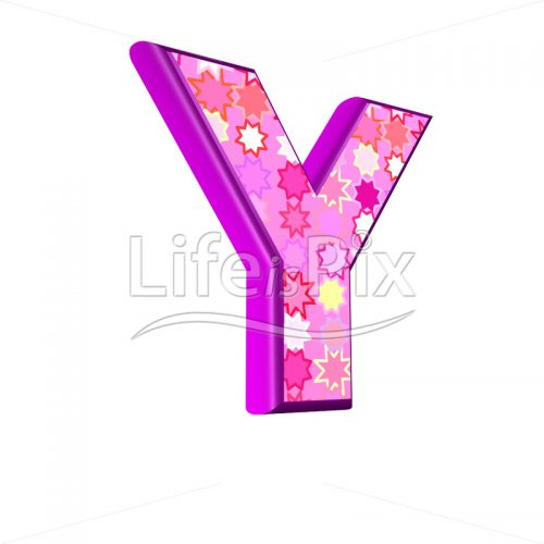 upper case letter Y with pink stars texture – 3d illustration – Royalty free stock photos, illustrations and 3d letters fonts