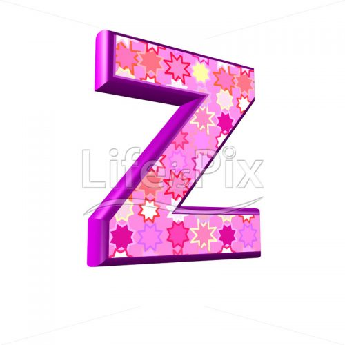 upper case letter Z with pink stars texture – 3d illustration – Royalty free stock photos, illustrations and 3d letters fonts