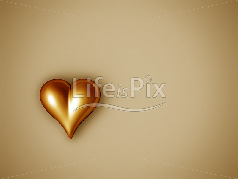 valentine heart with glossy gold texture