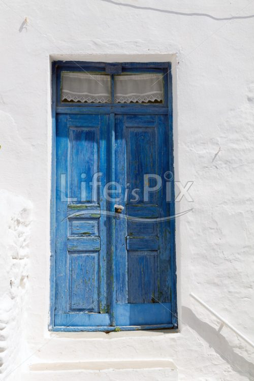 wooden blue door in Paros island – Greece - Royalty free stock photos, illustrations and 3d letters fonts
