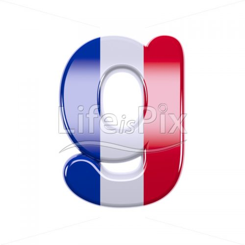 Flag of France character G – Lowercase 3d letter – Royalty free stock photos, illustrations and 3d letters fonts