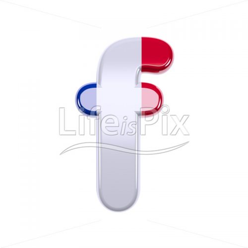 Flag of France font F – Lowercase 3d character – Royalty free stock photos, illustrations and 3d letters fonts