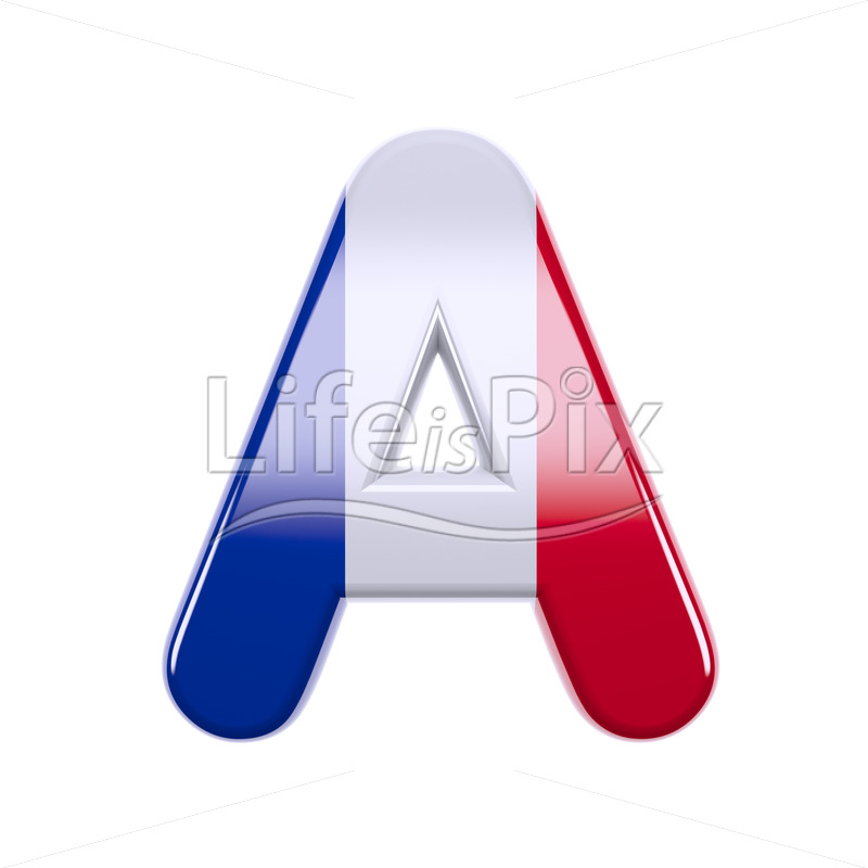 Flag of France letter A – Uppercase 3d font - Royalty free stock photos, illustrations and 3d letters fonts
